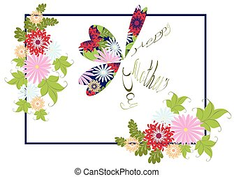 Happy Mother's Day floral greeting with abstract butterfly. EPS10 vector illustration.