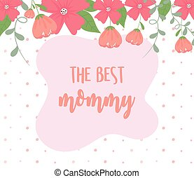 happy mothers day, flowers border decoration dots background
