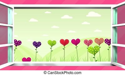 Happy Mother's Day greeting card. Field of flowers in the shape of a heart of different colors inside a white window that opens on a pink background. Sequence with copy space. 2D - 3D animation