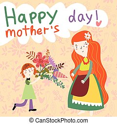 Happy Mother's day - greeting card in cartoon vector style.