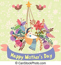 Happy Mother's day - greeting card in cartoon vector style