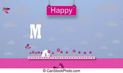 Happy Mothers Day Greeting Card. Letters on a magenta flower garden with butterflies flying around on a pastel purple sky with clouds in the background. 2D Animation