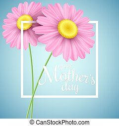 Happy Mother's Day. Greeting card. Pink daisy flowers in a white frame on a light blue background. White text. Romantic background. Vector illustration