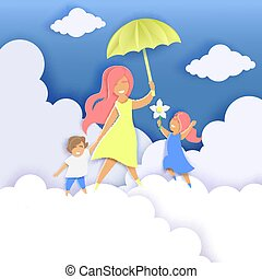 Happy Mothers Day greeting card template, vector paper cut illustration