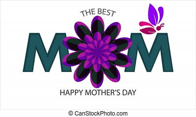 happy mothers day greeting card with mom typography decoration and beautiful flower