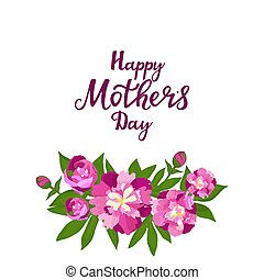 Happy Mother's day. Greeting card with peonies