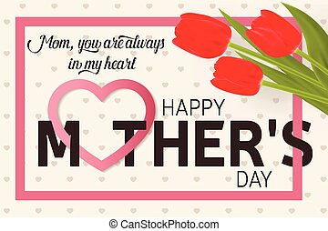 Happy Mothers Day greeting card with tulips.