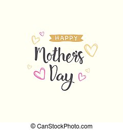 Happy Mothers Day Hand Drawn Lettering For Greeting Card Isolated On White Background