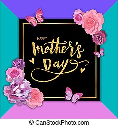 Happy Mothers Day Hand-drawn Lettering with roses, peonies and butterflies. Vector