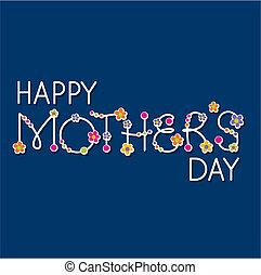 happy mothers day headline witn flowers, handlettering