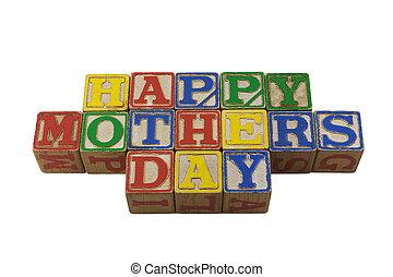 Happy Mothers day in vintage alpabet blocks