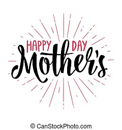 Happy Mother's Day lettering. Vector vintage illustration. Isolated white