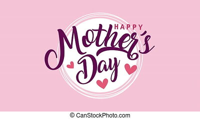 happy mothers day lettering with hearts love