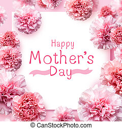 Happy mother's day message on pink carnation flowers background