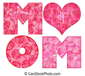 Happy Mothers Day Mom Alphabet Letters with Rose Hearts Pattern Illustration Isolated on White Background