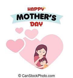 Happy Mother's Day Mother Pink Heart Background Vector Image
