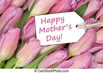 Happy mother's day on tag with tulips flowers