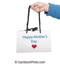 Happy Mother's day on white bag with black cord