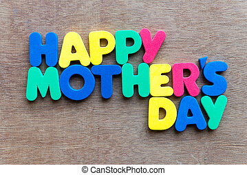 happy mother's day on wooden background