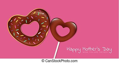 happy mothers day pink greeting card with heart shaped donut and lollipop
