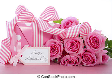 Happy Mothers Day pink polka dot gift.