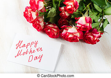 Happy Mother's Day post card with bouquet roses.