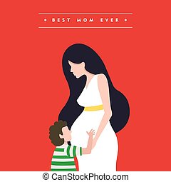 Happy mothers day pregnant mom card illustration
