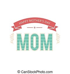 Happy Mother's Day Ribbon Green Mom Text Vector Image