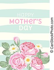 Happy mothers day. Shabby chic roses on light green blue linear background with text. Floral, cute card. Vector illustartion