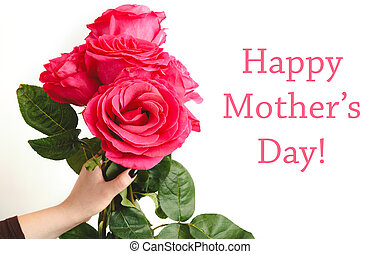 Happy Mothers Day text on white background with flower bouquet of pink roses in female hand. Flower delivery, Congratulations for Mom, women, mother. Greeting roses bouquet. Spring festive flowers