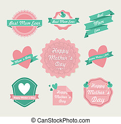 Happy Mothers day vintage label set