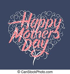 Happy mothers day, vintage typographical card