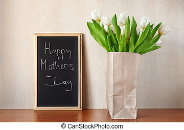 Happy Mother's Day! - white tulips with Mother's Day...