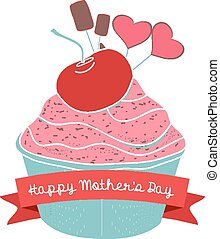 happy mothers day with cupcake
