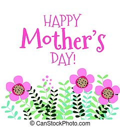 Happy Mother's Day with Floral bouquets, vector...