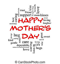 Happy Mother's Day Word Cloud Concept in red caps with great...