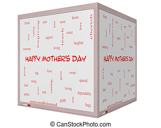 Happy Mother's Day Word Cloud Concept on a 3D cube Whiteboard