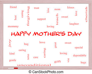 Happy Mother's Day Word Cloud Concept on a Whiteboard