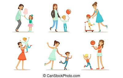 Happy Mothers Playing, Having Fun and Enjoying Good Time with Their Cute Kids Set Vector Illustration