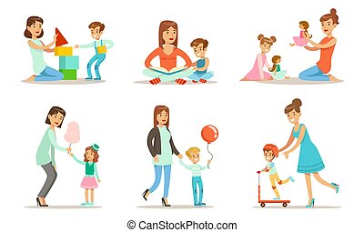 Happy Mothers Playing, Having Fun and Enjoying Good Time with Their Kids Set Vector Illustration
