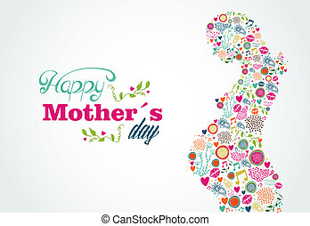 Happy Mothers day typographic background and silhouette of pregnant woman. Vector illustration layered for easy manipulation and custom coloring.