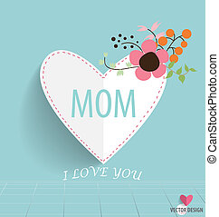 Happy Mothers's Day, heart paper with floral bouquets....
