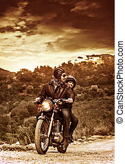 Happy motorcyclists
