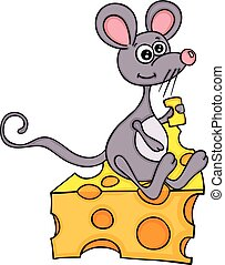Happy mouse eating cheese