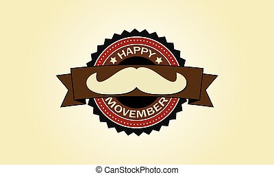 happy movember vintage badge
