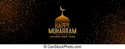 happy muharram beautiful festival golden banner with glitter