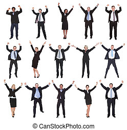 Group Of Business People Raising Arms