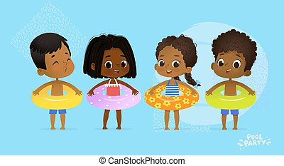 Happy Multicultural Friend Swimming Pool Party. International Character with Blue Yellow and Orange Ring on Fun Sea Resort. Afro American Kids Relax Summer Vacation Flat Cartoon Vector Illustration.
