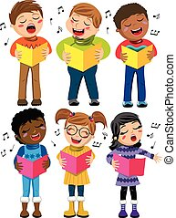 Happy multicultural kids or children standing and singing in...