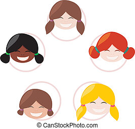 Happy multicultural school girls